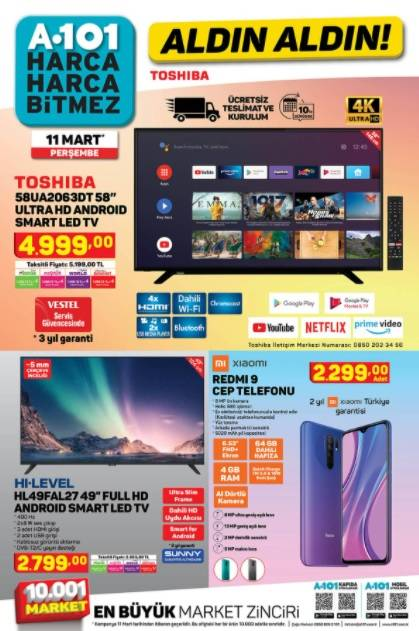 11 Mart'ta A101'de Kataloğu Yayınlandı! Televizyon, Cep Telefo 1